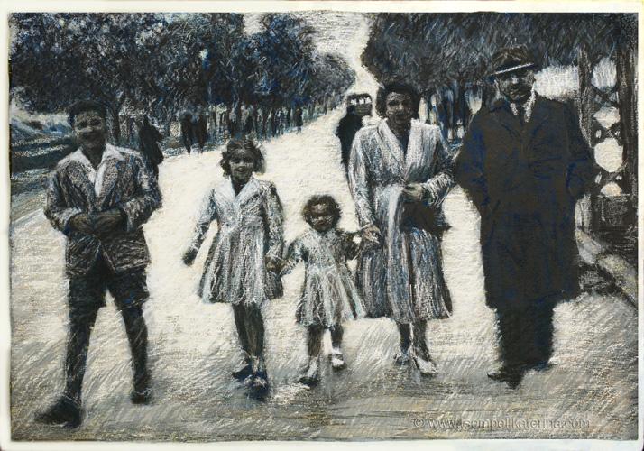 οικογενειακος περιπατος, family outing, 55x70cm